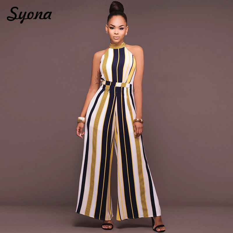 2018 WOMENS Culotte   JUMPSUIT   ROMPERS Formal Office Party Wide Leg Pants Elegant Baggy Overalls Striped Palazzo Loose Summer 2XL
