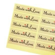 Наклейка «Сделано с любовью» 100 шт наклейки красным сердцем