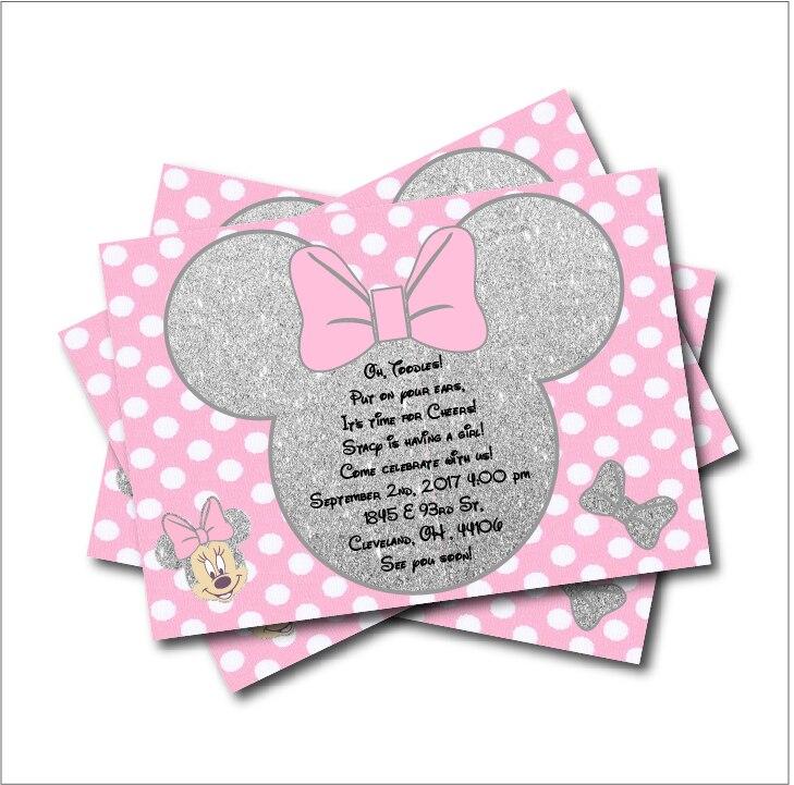 20 pcs/lot Minnie Mouse Gold glitter Custom Party Invites Minnie ...