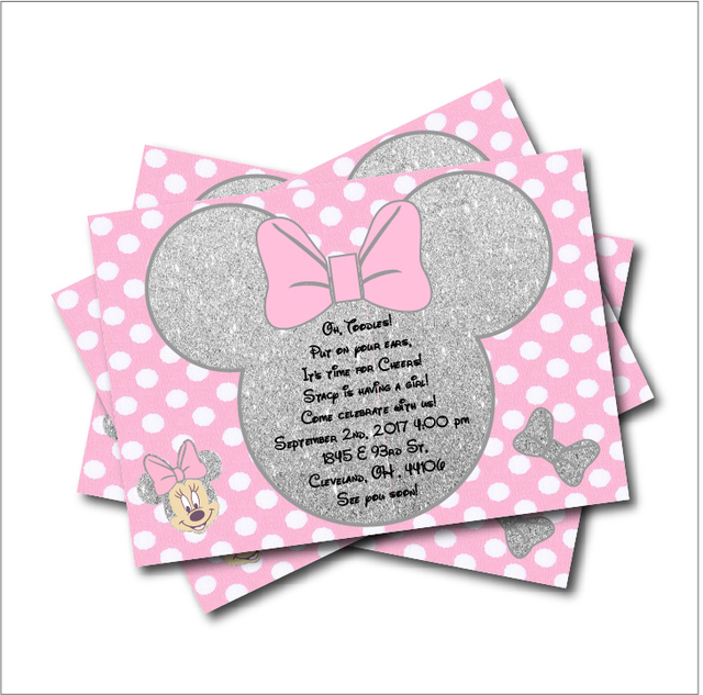 Nice 20 Pcs/lot Minnie Mouse Silver Glitter Girls Party Invitations Minnie Mouse  Baby Shower Invites