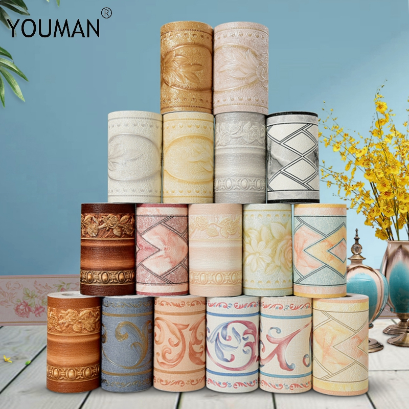 Wallpapers Youman 3D Tridimensional Floral Fronteira Papel De Parede Paredes Rolo Estéreo Adesivos de Parede Sala de estar Decoração de Casa Diariamente
