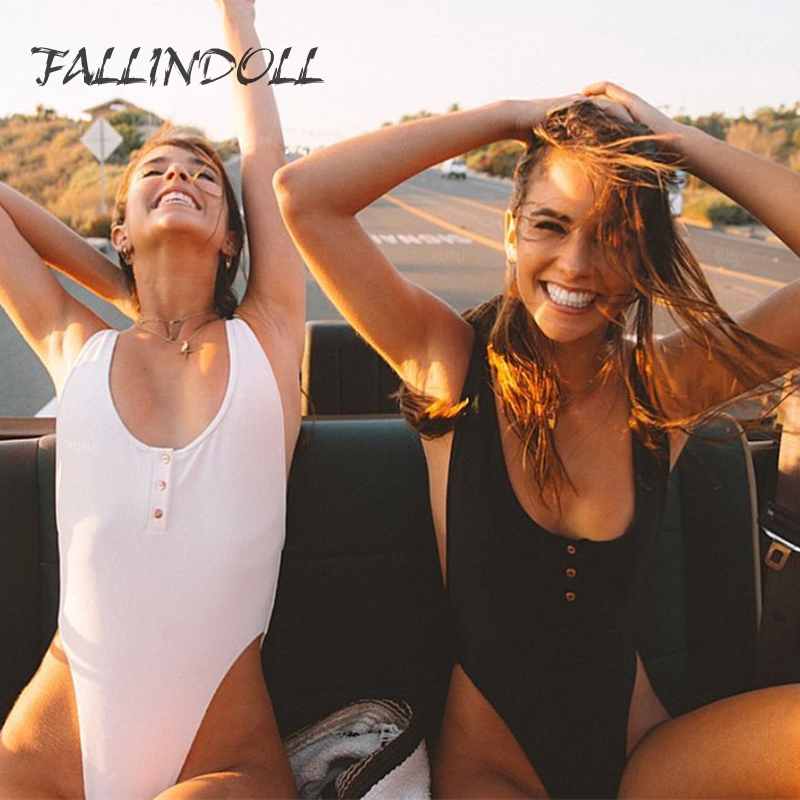 FALLINDOLL <font><b>2018</b></font> <font><b>Sexy</b></font> High Cut <font><b>One</b></font> <font><b>Piece</b></font> <font><b>Swimsuit</b></font> Women <font><b>Bathing</b></font> Suits Buttons Retro Brazilian <font><b>One</b></font> <font><b>Piece</b></font> Swimwear Women <font><b>Swimsuit</b></font> image