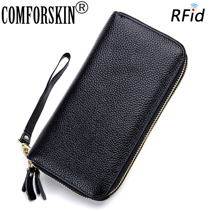 COMFORSKIN Brand New Arrivals RFID Genuine Leather Large Capacity Double Layers Womens Wallet 2018 Hot Organizer Wallets