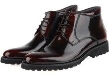 Дышащий мода вино красный/черный мужские ботинки из натуральной кожи мужские бизнес обувь 2017 мужские свадебные сапоги зимние