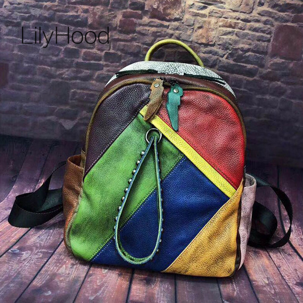 Cowhide Brushed off Leather Backpack Female Vintage Multicolor Patchwork School Bag Women Genuine Leather Daypack Daily