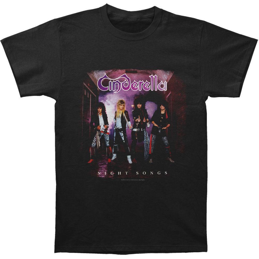 Cinderella Mens Night Songs T-shirt Black MenS High Quality Custom Printed Tops Hipster Tees Short Sleeves Cotton T-Shirt