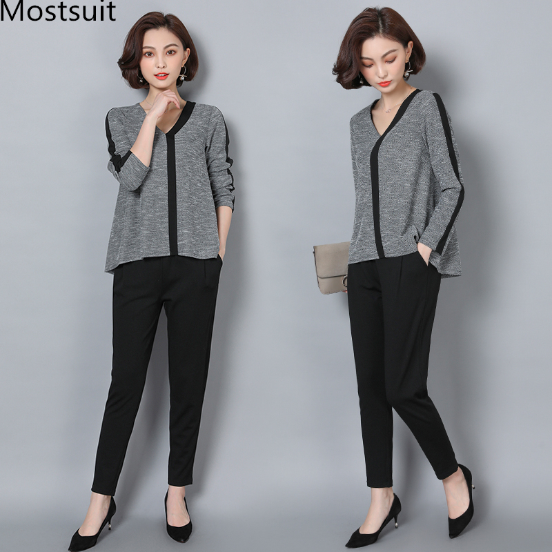L-5xl Grey Casual 2 Piece Set Women Long Sleeve V-neck Tops And Harem Pants Sets Suits Spring Autumn Plus Size Women's Tracksuit