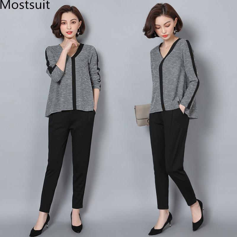 L-5xl Grey Casual 2 Piece Set Women Long Sleeve V-neck Tops And Harem Pants Sets Suits Spring Autumn Plus Size Women's Tracksuit