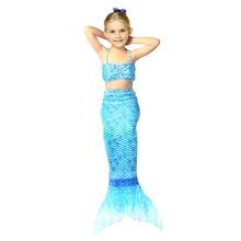 Colorful Summer Mermaid Swimwear Beachwear for 4-12 Years Girls Children Mini Strapped Vest+Fishtail Skirt Bikini 2 Piece Set