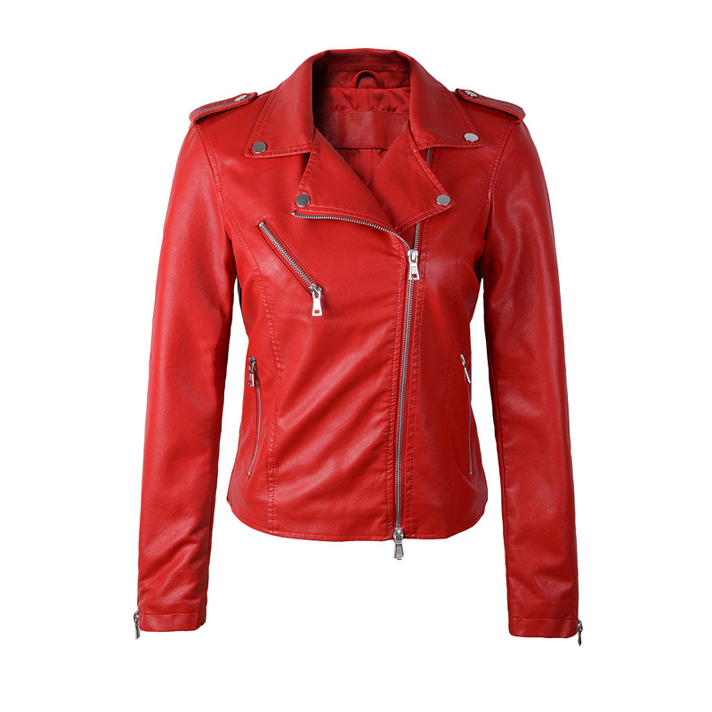 high quality New 2016 Autumn Winter Fashion Turn down Collar Short Leather Jacket Black Slim Red