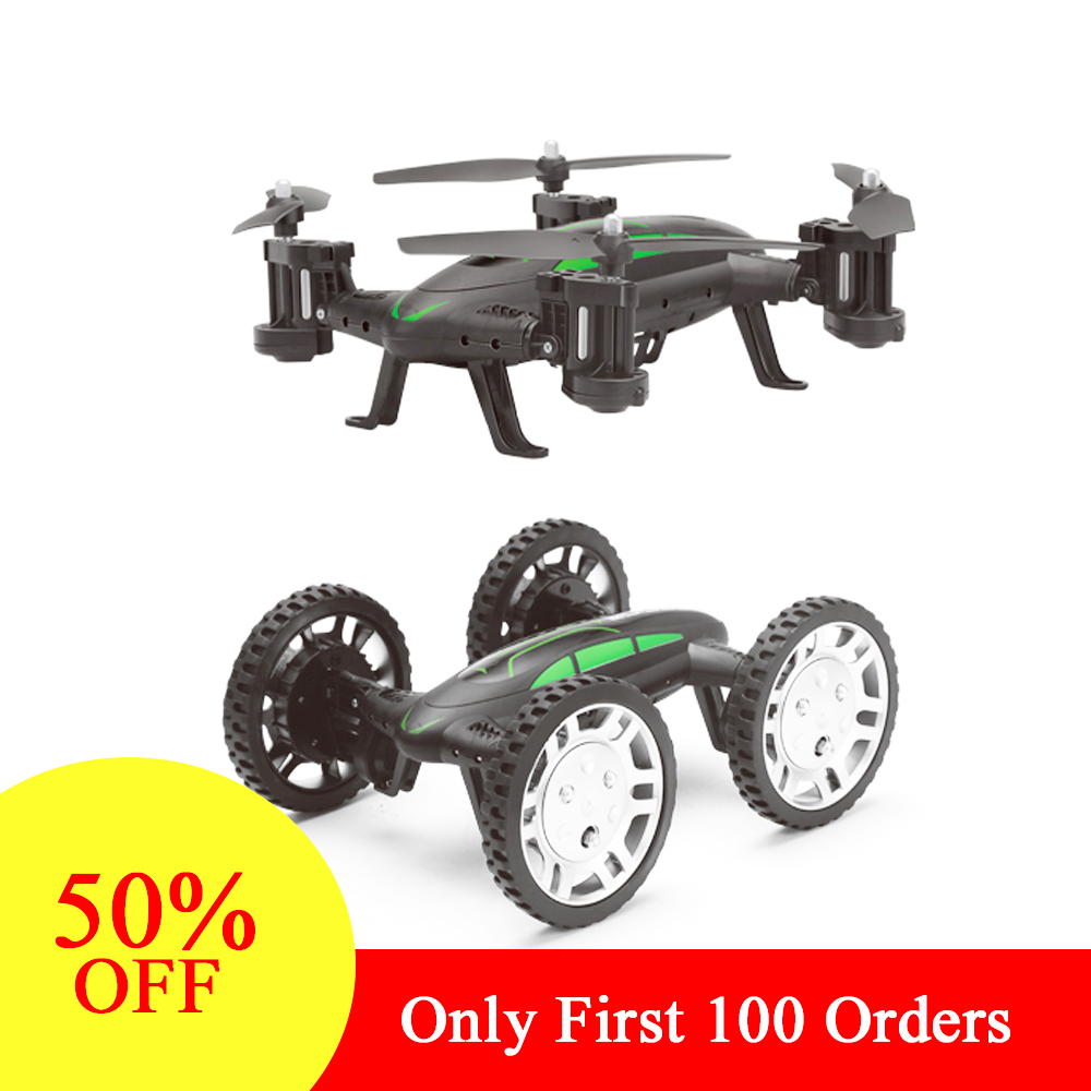 RC Drone Air-Road Dubbel Modell FY602 Flyga Med HD-kamera 2.4G Quadcopter 6-Axis 4CH Helikopter Run Sidor