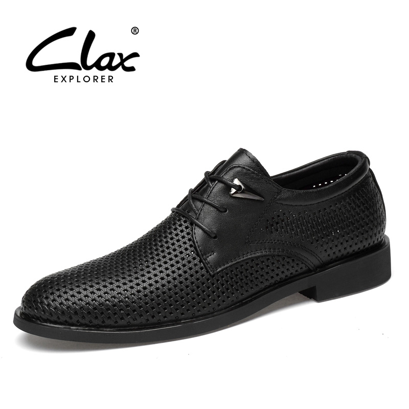 CLAX Men Oxfords Genuine Leather 2019 Summer Men S Formal Shoes with Breathable Holes Bussiness Dress