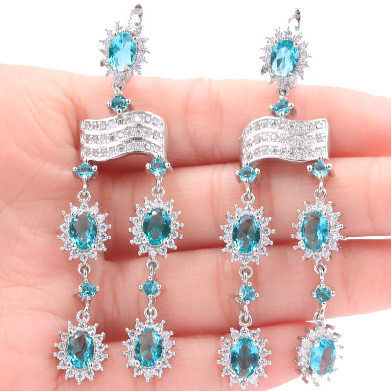 SheCrown Long Rich Blue Aquamarine White CZ Ladies Presente Pendientes de plata 69x18mm
