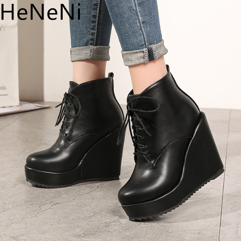 2019New Spring Autumn Women Ankle Boots Women Wedge Platform High Heels Boots Solid Lace-up Fashion Ladies Shoes Plus Size 32-43