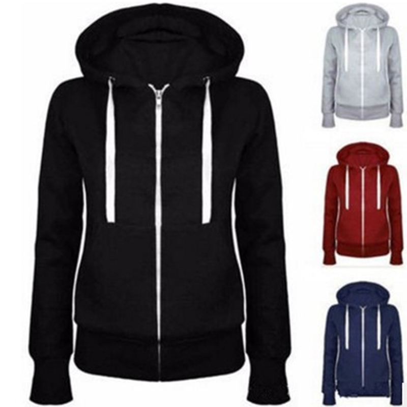 Bigsweety Classic Women Hoodies Overcoat New Spring Autumn Zipper Hooded Sweatshirts Hoody Jacket Womens Coat Pockets Outerwear