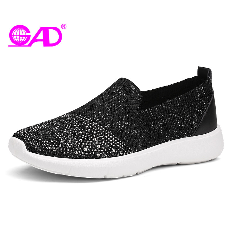 GAD Large Size Women Loafers 2018 Spring/Summer New Mesh Breathable Women Casual Shoes Fashion Shiny Crystal Women Flat Shoes gogc 2018 new floral denim slipony women breathable shallow shoes footwear flat shoes women fashion sneakers women summer spring