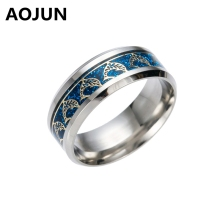 High Quality Cute Anime Dolphin Titanium Ring Men Women Wedding Engagement Gold Silver Blue Black Male Rings Fashion Jewelry