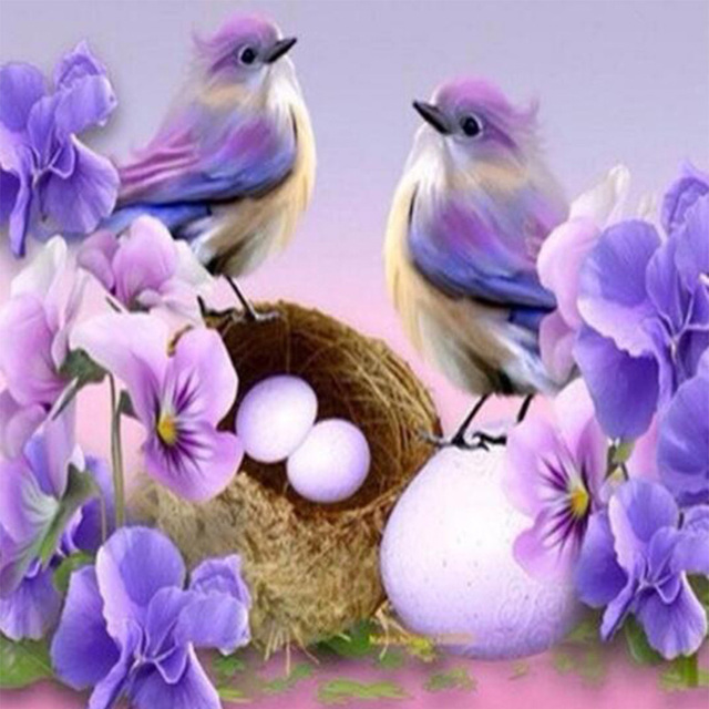 5d Diy Painting Purple Flowers And Birds Diamond Embroidery Patterns