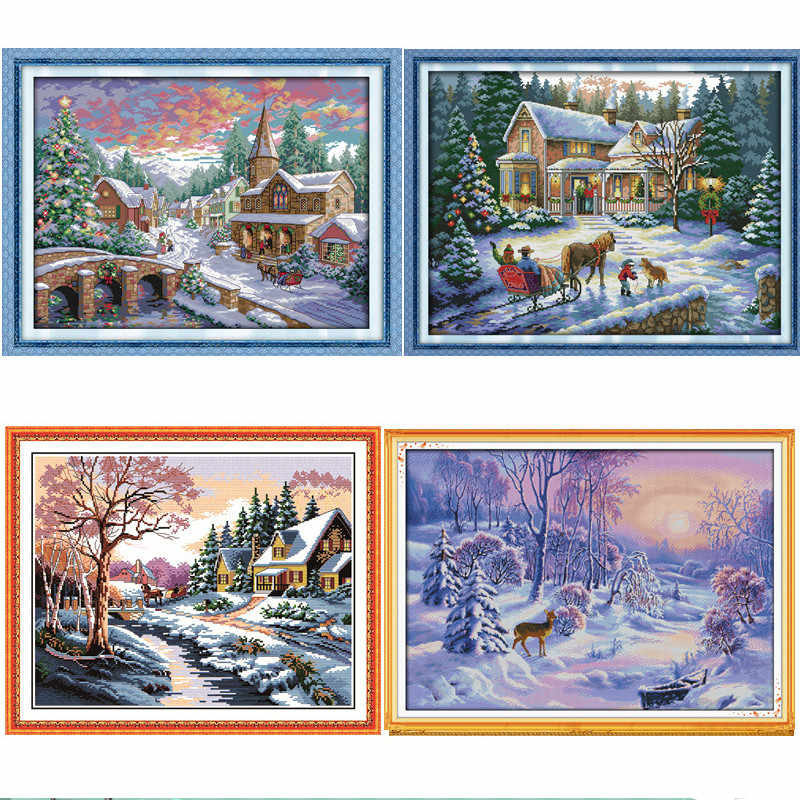 Snowscape Scenery DIY Cross-stitch Kit Needlework 11CT 14CT DMC Chinses Counted Cross Stitch Pattern Set For Embroidery Handmade