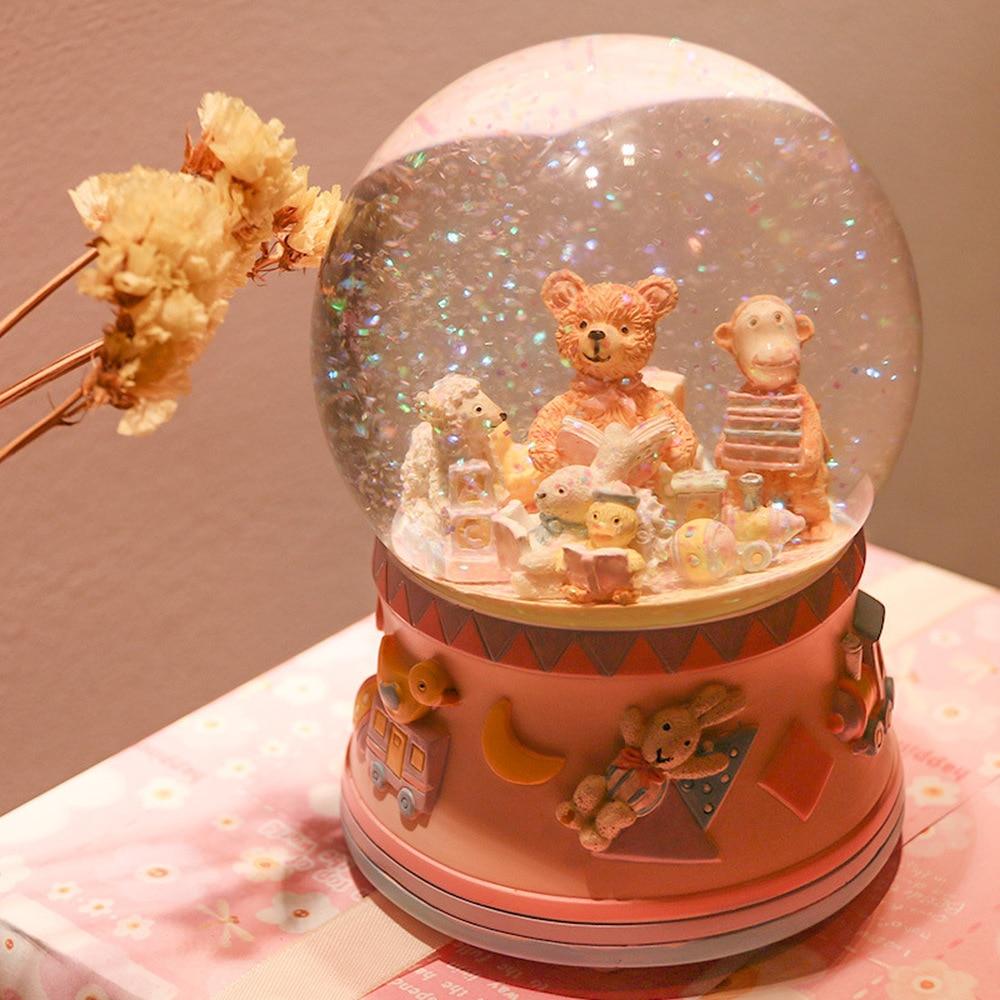 Petit ours carrousel boule de cristal boîte à musique bande dessinée boîte à musique cadeau pour les filles et les enfants LM01101053