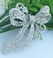 "Classic 4.13"" Bridal Bowknot Flower Bow Brooch Pin Clear Rhinestone Crystal Pendant Art Deco Costume JewelryEE05823C1"