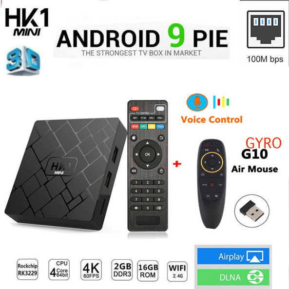 Android 9,0 caja de TV RK3229 Quad Core HK1 mini 2GB 16GB ratón de aire es opcional 4K H.265 Wifi reproductor de medios Dispositivo de TV inteligente