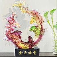 Glaze handicraft furnishings gold and jade high grade furniture living room office furnishings wedding articles
