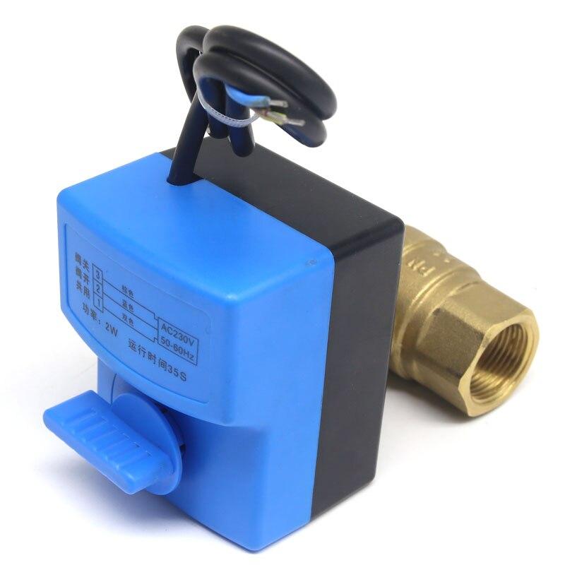 DN20 (G 3/4 ) AC220V 2 voies 3 fils actionneur électrique en laiton ball valve, Froide et chaude la vapeur d'eau/de chaleur des gaz en laiton motorisé ball valve