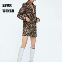 Leopard Jacquard Pocket Coat Women Wool Blend Fashion Winter Overcoat Trendy Tops ZO1173
