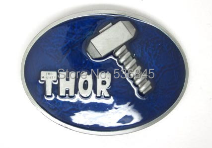 Oval Thor and Hammer The Dark World Movie Marvel Comics Blue Finished Belt Buckle