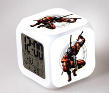 Newest Deadpool Color Change Digtial Alarm Table Clock Desktop Decor Gadget for Home Kids Bedroom LED Lighting Electronic Gfit