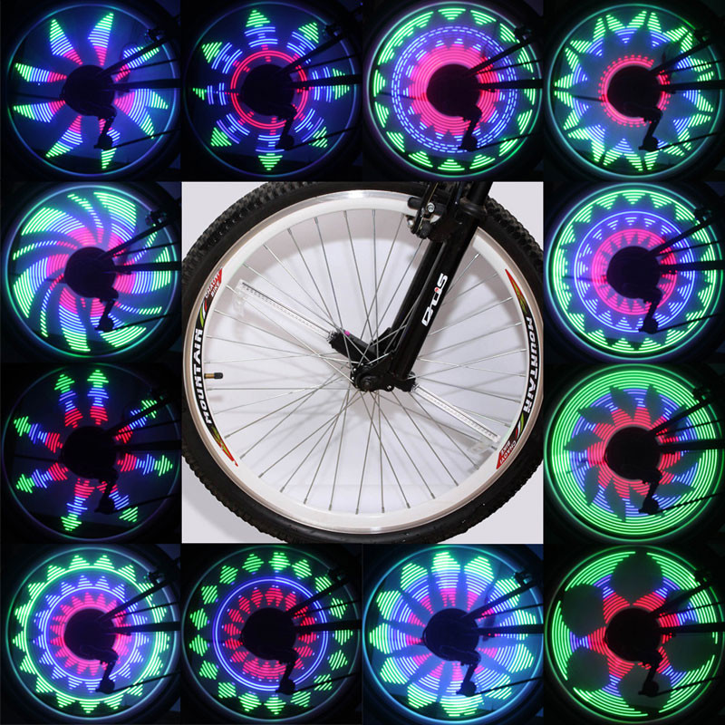 New Design 64 LED Waterproof Cycling Bicycle Bike Wheel Signal Tire Spoke Light 18 Changes Bicycle Spoke Light Free Shipping
