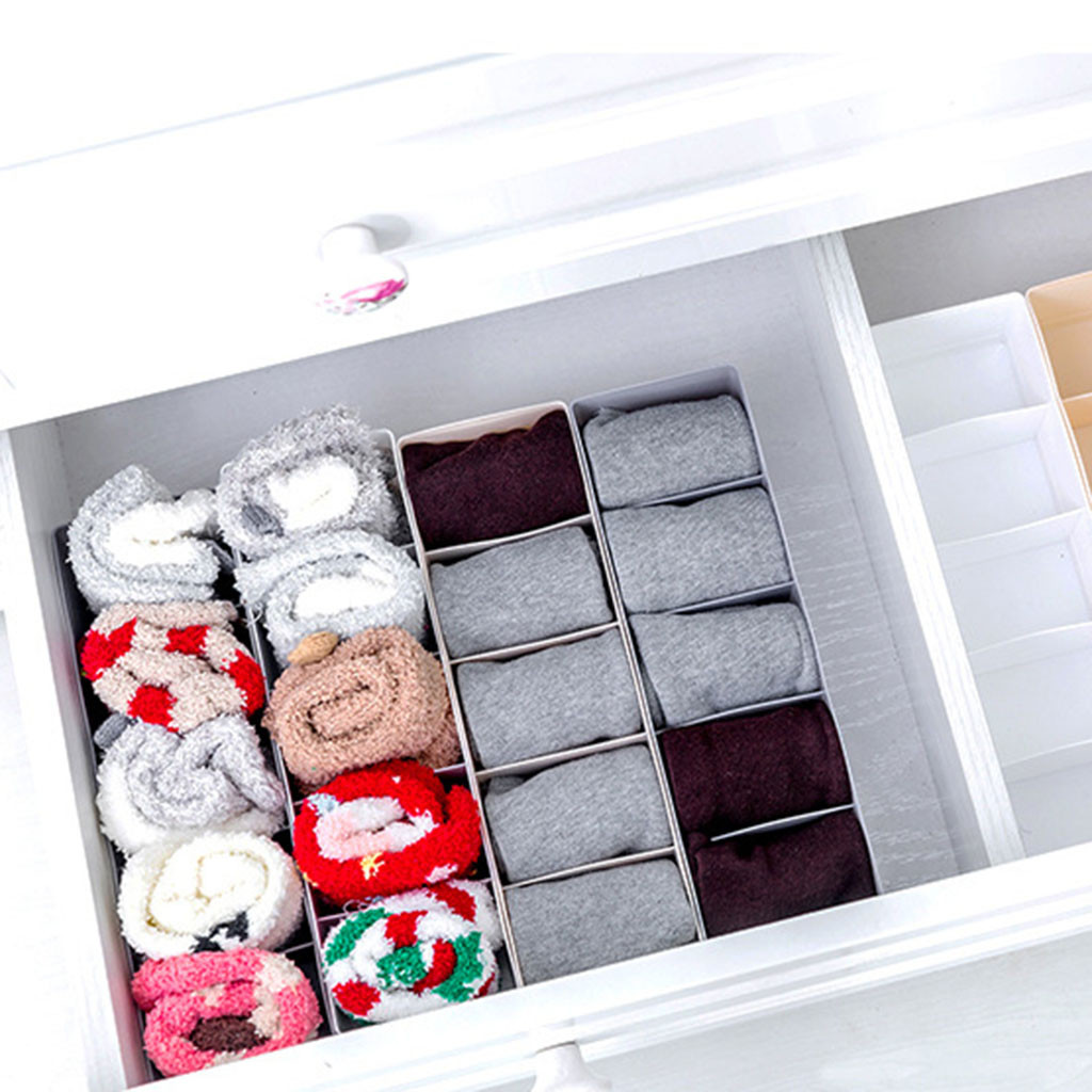 Underwear Storage organizer Boxes For Bra Tie Sock Shorts Divider Drawer Closet Interior Organizador box Organizer H0506 makeup organizer box