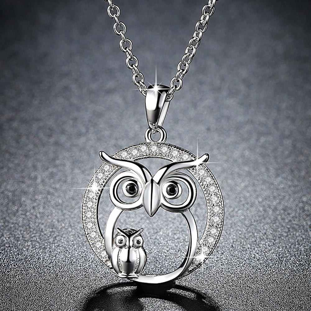 Beiver 2018 New Zircon Pendants Owl Necklace For Women Crystal Sliver Color Necklaces Fashion Jewelry Christmas