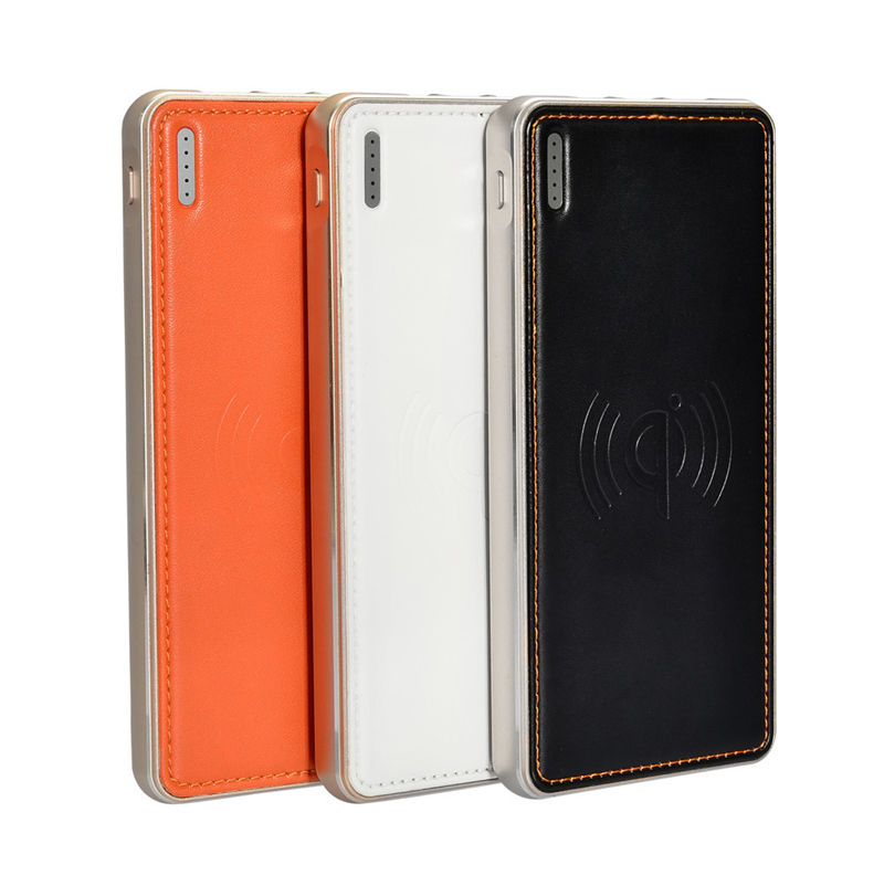 Leather Surface Metal Frame Qi Wireless 2.4A Fast Charger Power Bank Charging Transmitter Mat 10000mAh Universal Power Supply