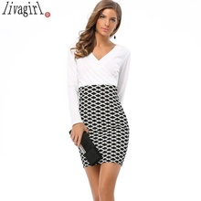 LIVAGIRL Brand Womens Elegant Colorblock Patchwork Tartan Check Plaid Wear to Work Business OL Party Bodycon Stretch Dress YC294