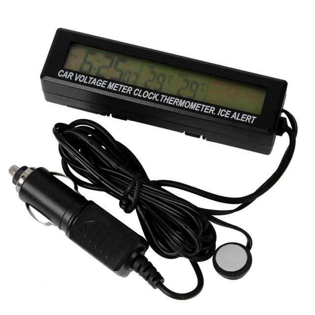 Com Alerta de Gelo de Alta Qualidade Preto In/Out Termômetro Relógio Voltage Meter Monitor de 12 V 24 V Digital LCD 3 em 1 Carro metro