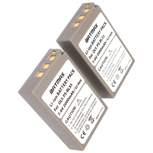 2000mAh 2 PCS BLS-5 BLS5 Battery+Charger for Olympus OM-D E-M10, PEN E-PL2, E-PL5, E-PL6, E-PM2, Stylus 1
