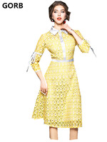 High End Designer 2018 Spring Newest Women High Quality Runway Lace Dresses Hollow Out Turn Down