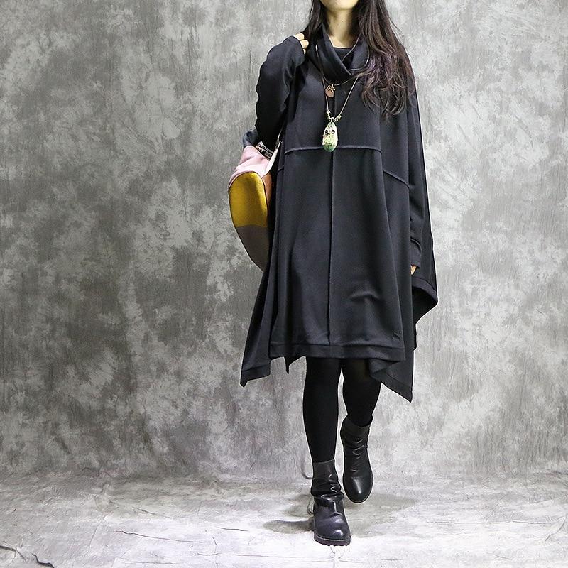 Vestido holgado de manga murciélago de Color sólido para mujer vestido de Primavera de talla grande vestidos de retazos para mujer 2018-in Vestidos from Ropa de mujer    1