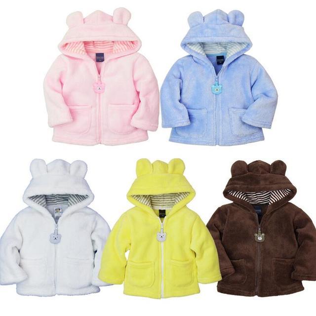 Caliente Recién Nacido Ropa Niños Niñas Otoño/Invierno Abrigos Bebé de la Manera Hoodies Del Bebé Polar de Coral Gruesa Tops Outwear Para 0-2 Años de Cabritos
