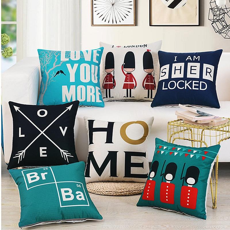 Wholesale Pillow Cover Union Jack Home Decor Cushion Cover Linen Cotton Pillow Case Sofa Cushions