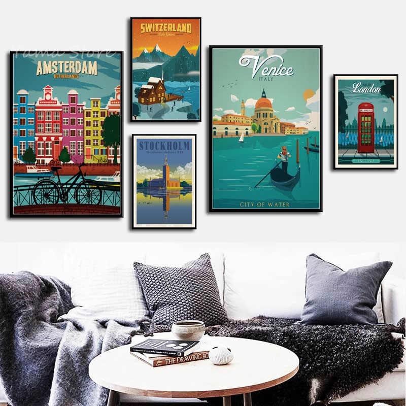 6c50860b1c9 S293 Netherlands London Italy Europe City Vintage Travel Landscape Wall Art  Painting Print On Silk Canvas
