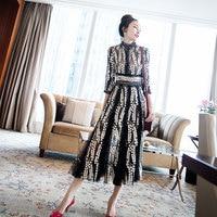 2019 Sale Vadim Plus Size Long Dress New Arrival Vestidos De Fiesta Office Women Ladies Temperament Lace Mesh High Waist Female