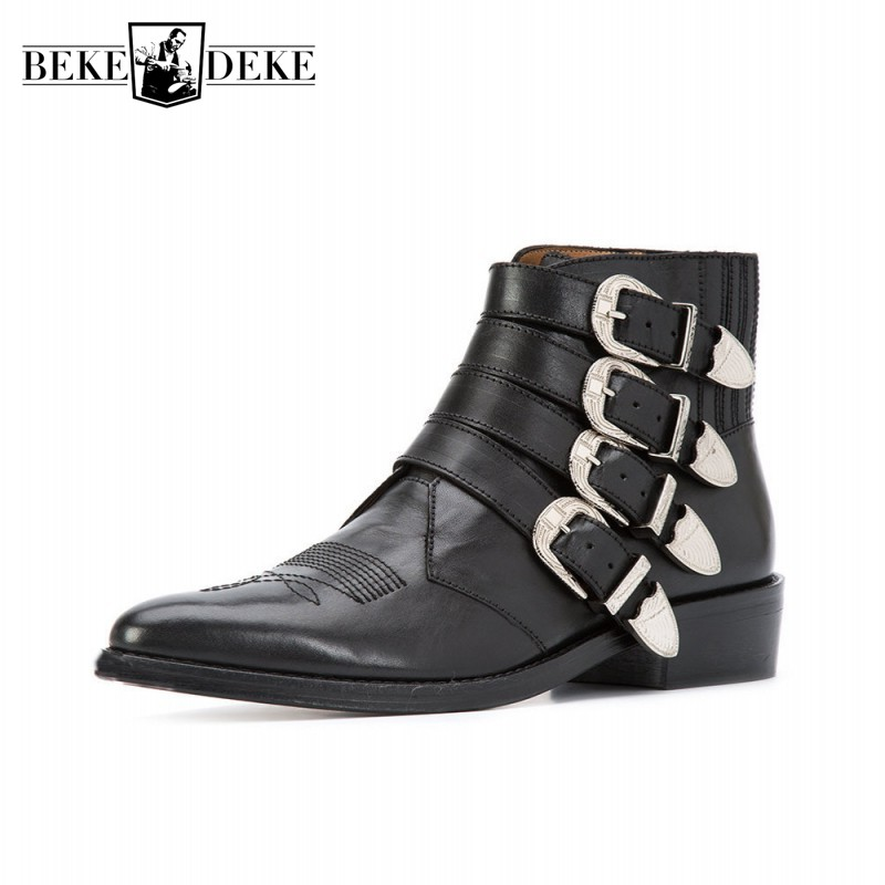 Runway Men Buckle Boots Handmade Cow Leather Cowboy Ankle Boots Shoes Fashions Pointed Toe Punk Motorcycle Boots Black Plus SizeRunway Men Buckle Boots Handmade Cow Leather Cowboy Ankle Boots Shoes Fashions Pointed Toe Punk Motorcycle Boots Black Plus Size