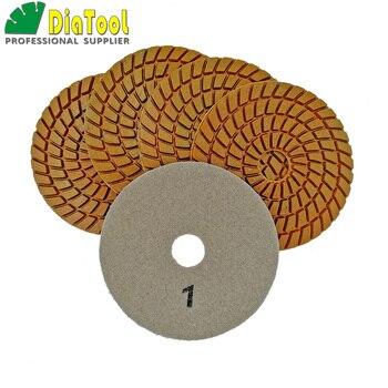 цена на SHDIATOOL 5pcs 4 inch Five Step Diamond Polishing Pads Wet Diameter 100mm Resin Bond Sanding Disc Premium high quality For stone