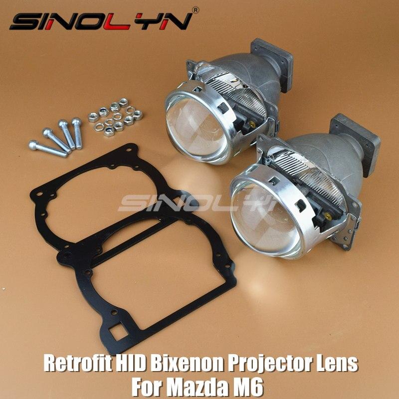 SINOLYN For Mazda M6 Headlight Retrofit HID Bi xenon Headlamp Projector Lens Replace Halogen Lenses Tuning DIY LHD RHD High Low