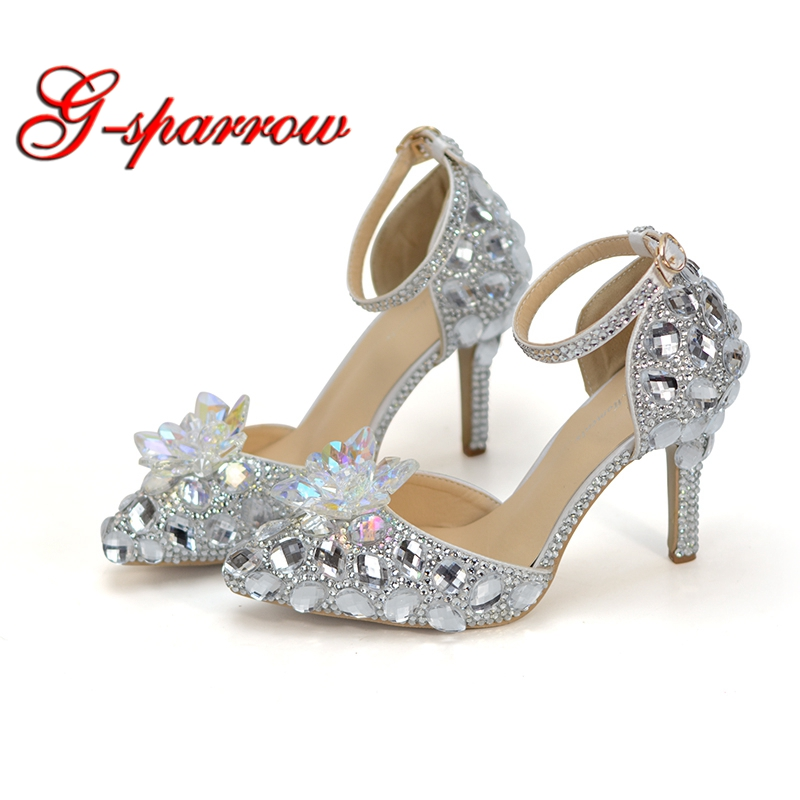 Pointed Toe Bride Wedding Shoes Cinderella Prom Pumps Ankle Strap Buckle Shoes Silver Rhinestone Bridesmaid Shoes