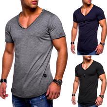 2019 Venda Quente de Verão homens manga curta gola V  cor sólida t shirt Slim Fit t-Shirt