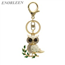 ENORLEEN Brand Luxurious cute owl key chain car pendant gold-color noble elegant rhinestone sweater chains gift for children